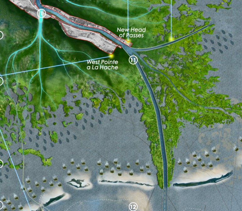 The Studio Misi-Ziibi Team would move the mouth of the river to West Pointe a la Hache, dredge a new, deeper shipping channel west into Barataria Bay and eventually abandon the communities to the south.